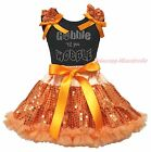 Thanksgiving Black Top Gobble Wobble Orange Bling Sequins Girl Skirt Outfit 1-8Y