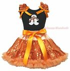 Christmas Ginger Snowman Black Top Orange Bling Sequins Girls Skirt Outfit 1-8Y