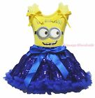 Yellow Big Eye Monster Paint Top Royal Blue Bling Sequins Girls Skirt Set 1-8Y