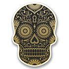 2 x Gold Sugar Skull Vinyl Sticker Decal Laptop Car Helmet Girls Gift #9725/SV