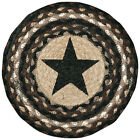 Black Star III Round Chair Pad with 2 Tie Ribbons Hand Printed Braided Jute