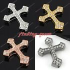 1x Side Ways Crystal Rhinestone Thick Cross Connector Charms Beads For Bracelet