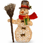 White Rattan Snowman Holding Gift and Broom with Clear Outdoor Lights