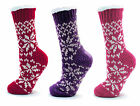 LADIES SOFT WINTER FAIRISLE FLEECE SLIPPER SOCKS BOOTS RED PINK PURPLE Size 4-7