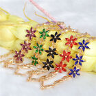 1PC 18K Gold Plated Austrian Crystal Flower Chain Bnagle Bracelet 5colors