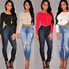New Women Fashion Round Neck Long Sleeve Lace Crop Top Tops T-shirt Blouse