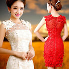 L426 Evening Prom Party Dress Wedding Bridesmaid Dress Short Skirt Red Champagne