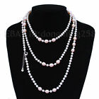 long AA 4-5mm white+8x9mm black pink purple white akoya pearl necklace s670