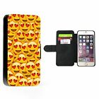 Funny Love Emoji Collage Faux Leather Flip Phone Cover Case Wallet Hilarious
