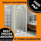 900mm BI-FOLD BATHROOM SHOWER DOOR CUBICLE/ENCLOSURE, TOUGHENED SAFETY GLASS