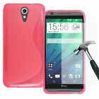 S-Line Silicone TPU Gel Case Cover + Tempered Glass Screen For Various HTC Phone