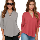 Women New Tops V Neck Long Sleeves Shirt Casual Loose Camisas Chiffon Blouse FO