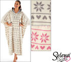 New Ladies Hooded Poncho Pink Grey Snowflake Reindeer Design One Size /Plus Size