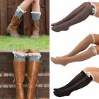 Trendy Womens Knitted Knee High Socks Button Leg Warmers Lace Trim Boot Socks