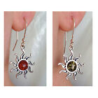 BALTIC HONEY or GREEN AMBER & STERLING SILVER SUN EARRINGS