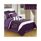 Bedroom In A Bag Set 24Pc Queen King Comforter Sheets Pillows Curtains Bed Skirt