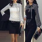 OL Women Stripe Lantern Top Long Sleeve Turtleneck Bowknot Slim Shirt Blouse