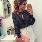Womens Pretty OL Blouse Casual Long Sleeve Blouses Polka Dot Chiffon Shirt Tops