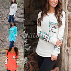 Women Lady's Geometric Print Splicing Long Sleeve Tops O-Neck Loose T-Shirt