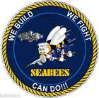 Seabees Naval Construction Build Fight Can Do (2 Decals!) vinyl Stickers Decal