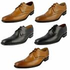 Mens Loake Black Tan Leather Lace Up Punched Detail Derby Shoes Stitch