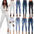 Womens Ladies Sexy High Waist Skinny Jeans Blue Stretch Denim Size 6-16