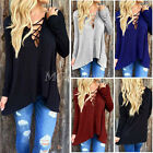UK 8-24 Women Cross Lace-up Long Sleeve Tops Blouse Open Front Hoodie T Shirt