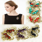6pcs Sparkly Flower Pattern Bouquet Brooch Colorful Diamante Crystal Wedding Pin