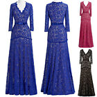 3/4 Sleeve Womens Bridesmaids Evening Long Prom Gown Wedding Lace Formal Dresses