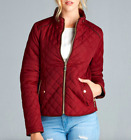 NEW Plus Size Quilted Winter Jacket Coat Zip Front Fitted- Large/XL/1X-2X-3X
