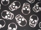 Skull Quilting Fabric Silver Metallic Timeless Treasures Fat Quarter By the Yard