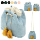 DRAWSTRING TASSELS BUCKET TOTE SHOULDER CROSS BAG PURSE FABRIC FAUX LEATHER