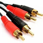 Twin 2 X RCA Phono Male to Male Stereo Audio Cable Speaker Amp 24K Gold Lead