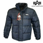 Alpha Industries US Flight Jacket Down Insulated Parka Padded Puffer Coat Navy