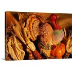 Premium Thick-Wrap Canvas Wall Art entitled Ceramic turkey surrounded by harvest