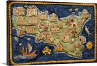 Solid-Faced Canvas Print Wall Art entitled Ceramic map of Sicily
