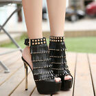 Womens Sexy Gladiator High Heels Rivets Tassel Buckle Strap Ankle Boots Shoes