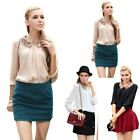 NEW Womens Vintage Sequin Peter Pan Collar Puff Sleeve Sheer T-Shirt Tops Blouse