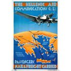 The Hellenic Air, Mail & Freigh Carried, Poster Art Print, Airplane Home Decor