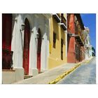 Poster Print Wall Art entitled Puerto Rico, Old San Juan, Row of historic houses