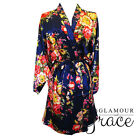 NAVY BLUE Floral Satin Robe Dressing Gown Wedding Bridal Bride Bridesmaid
