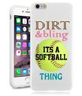 Softball Dirt Bling Quote Teen Girls Ruber Case for iPhone, ipod, Galaxy