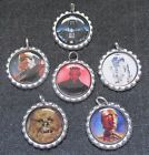LOT OF 6 STAR WARS Bottle Cap Charms Split Rings Attached Crafts C3PO R2D2 Darth $5.75 USD