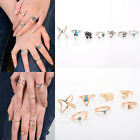 1Set/7Pcs New Women's Fashion Punk Gold/Silver Plating Alloy Ring Charm Jewelry