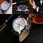 Fashion Men Date Leather Band Stainless Steel Military Sport Quartz Wrist Watch