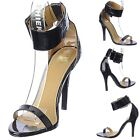 Sexy Patent Ankle Cuffed strap Open Toe Stiletto High Heels Shoes Pumps Size H20