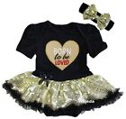 Valentine's Day Baby Born To Be Loved Heart Black Gold Sequin Bodysuit Tutu
