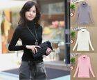 New Autumn Women Long Sleeve Solid Color High Collar Basic Top Blouse T-Shirt