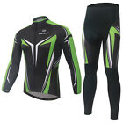 Unisex Cycling Bike Jersey Sets Wicking Breathable Long Sleeve Bicycle Bib Pant