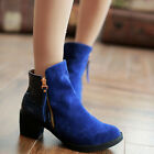 Sexy Womens Chunky High Heel Zip Retro Faux Suede Pumps Riding Ankle Boots Shoes